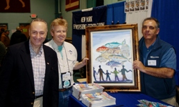 Sen. Schumer with NYSF president Jim Hutchinson, Jr. and The Fisherman's Fred Golofaro at the 2010 Freeport Show.