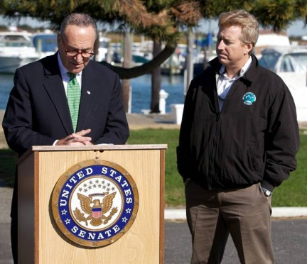 Sen. Charles Schumer at Point Lookout, NY talking about saltwater fisheries issues as Federation president Jim Hutchinson looks on.